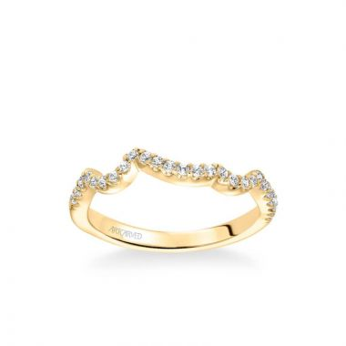 ArtCarved Thalia Contemporary Diamond Curved Wedding Band in 18k Yellow Gold