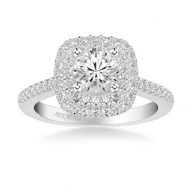ArtCarved Avril Classic Halo Diamond Engagement Ring in 18k White Gold