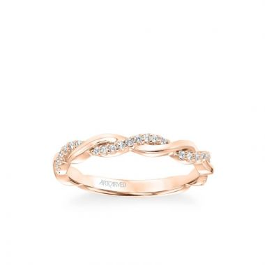 ArtCarved Kinsley Contemporary Half Diamond Half Polished Twist Wedding Band in 14k Rose Gold