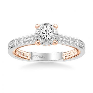 ArtCarved Keira Contemporary Side Stone Rope Diamond Engagement Ring in 14k White and Rose Gold