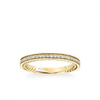 ArtCarved Keira Contemporary Diamond and Rope Wedding Band in 14k Yellow Gold