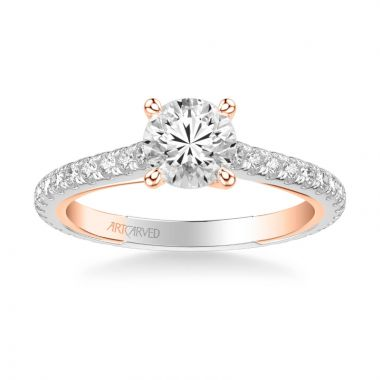 ArtCarved Carmen Contemporary Side Stone Twist Diamond Engagement Ring in 18k White and Rose Gold