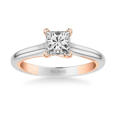 ArtCarved Tayla Contemporary Solitaire Twist Diamond Engagement Ring in 14k White and Rose Gold