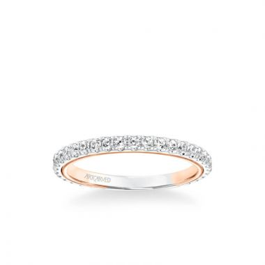 ArtCarved Tayla Contemporary Diamond Wedding Band in 18k White and Rose Gold