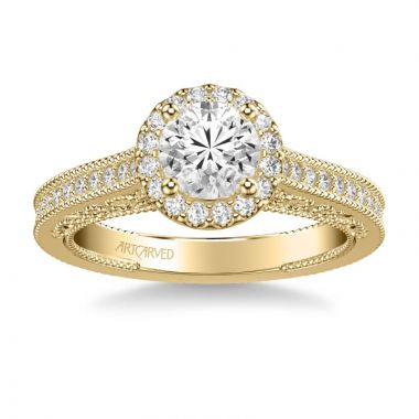 ArtCarved Indra Vintage Round Halo Diamond Heritage Collection Engagement Ring in 14k Yellow Gold