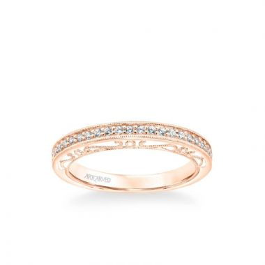 ArtCarved Indra Vintage Heritage Collection Diamond and Milgrain Filigree Scrollwork Wedding Band in 18k Rose Gold