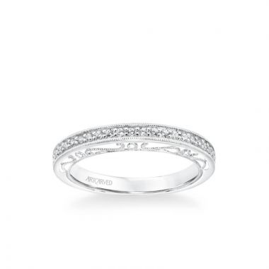 ArtCarved Indra Vintage Heritage Collection Diamond and Milgrain Filigree Scrollwork Wedding Band in 18k White Gold