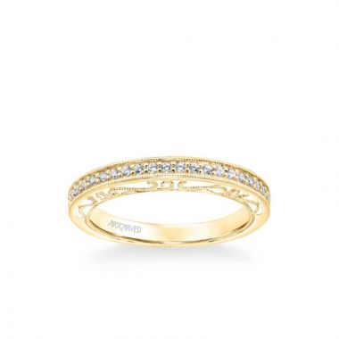 ArtCarved Velma Vintage Heritage Collection Diamond and Milgrain Filigree Scrollwork Wedding Band in 18k Yellow Gold