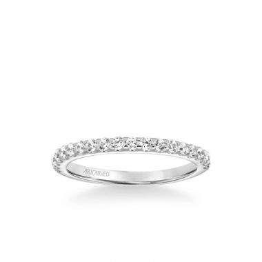 ArtCarved Lenore Classic Diamond Wedding Band in 18k White Gold