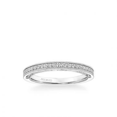 ArtCarved Blanche Vintage Heritage Collection Diamond and Milgrain Filigree Scrollwork Wedding Band in 18k White Gold