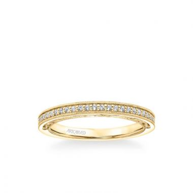 ArtCarved Blanche Vintage Heritage Collection Diamond and Milgrain Filigree Scrollwork Wedding Band in 18k Yellow Gold