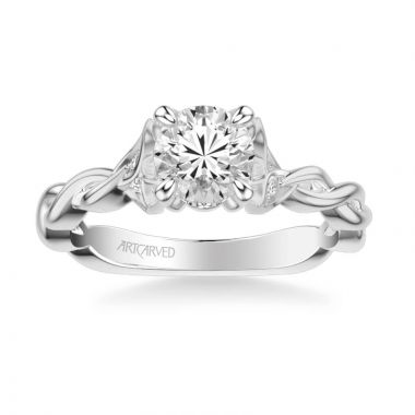 ArtCarved Cherie Contemporary Solitaire Floral Diamond Engagement Ring in 18k White Gold