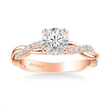 ArtCarved Daffodil Contemporary Side Stone Floral Diamond Engagement Ring in 18k Rose Gold