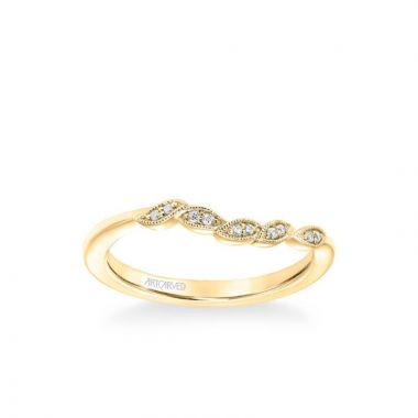 ArtCarved Lilac Contemporary Diamond and Milgrain Floral Wedding Band in 14k Yellow Gold
