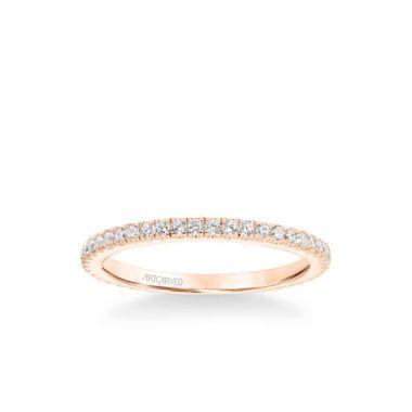 ArtCarved Aubrey Classic Diamond Wedding Band in 18k Rose Gold