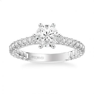 ArtCarved Arabelle Classic Side Stone Diamond Engagement Ring in 14k White Gold