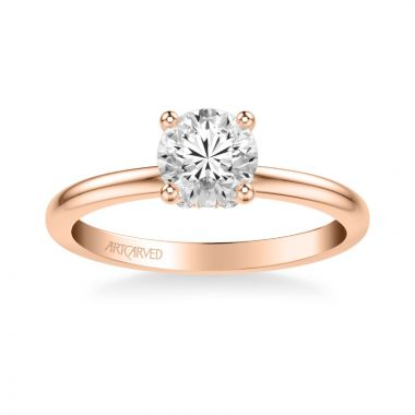 ArtCarved Kit Classic Solitaire Diamond Engagement Ring in 18k Rose Gold