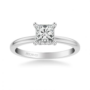 ArtCarved Kit Classic Solitaire Diamond Engagement Ring in 14k White Gold