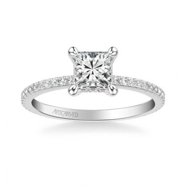 ArtCarved Chelsea Classic Side Stone Diamond Engagement Ring in 14k White Gold