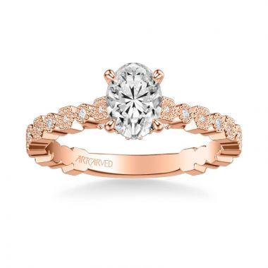 ArtCarved Louisa Vintage Side Stone Diamond Engagement Ring in 18k Rose Gold
