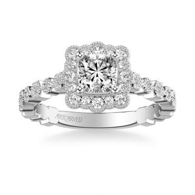 ArtCarved Lilith Vintage Unique Halo Diamond Engagement Ring in 14k White Gold