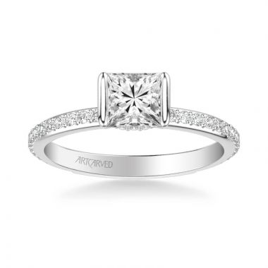 ArtCarved Gray Contemporary Side Stone Bezel Diamond Engagement Ring in 18k White Gold