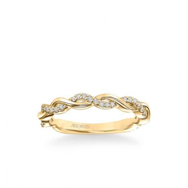ArtCarved Amaryllis Contemporary Half Diamond Half Polished Wedding Band in 14k Yellow Gold