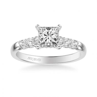 ArtCarved Erica Classic Side Stone Diamond Engagement Ring in 14k White Gold