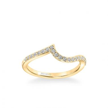 ArtCarved Sierra Contemporary Diamond Curve Wedding Band in 14k Yellow Gold
