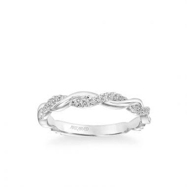 ArtCarved Rina Contemporary Half Diamond Half Polished Twist Band in 18k White Gold