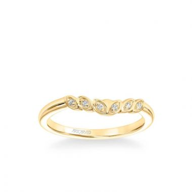 ArtCarved Heather Contemporary Diamond Leaf Wedding Band in 14k Yellow Gold