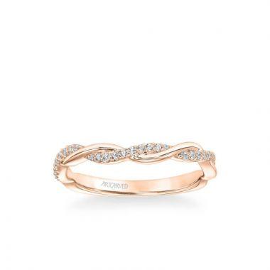 ArtCarved Petaluma Contemporary Half Diamond Half Polished Twist Wedding Band in 18k Rose Gold