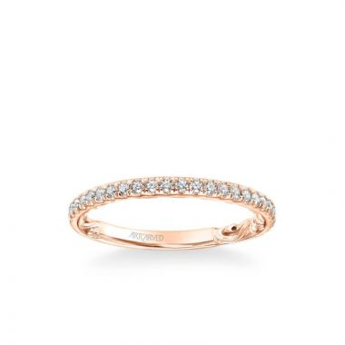 ArtCarved Cora Lyric Collection Classic Diamond Wedding Band in 18k Rose Gold