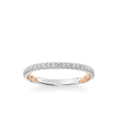 ArtCarved Harley Lyric Collection Classic Diamond Band in 14k White and Rose Gold