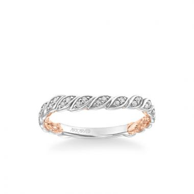 ArtCarved Anouk Lyric Collection Contemporary Diamond Floral Wedding Band in 14k White and Rose Gold