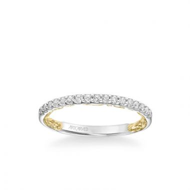 ArtCarved Theda Lyric Collection Classic Diamond Wedding Band in 14k White and Yellow Gold