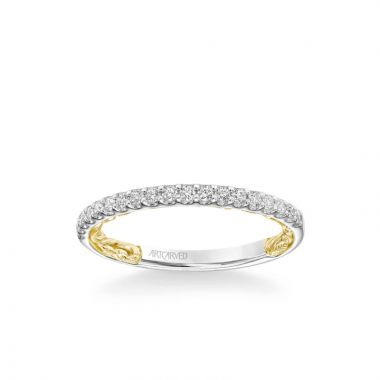 ArtCarved Falyn Lyric Collection Classic Diamond Wedding Band in 14k White and Yellow Gold