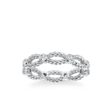 ArtCarved Stackable Eternity Band with Open Rope and Diamond Accents in 14k White Gold