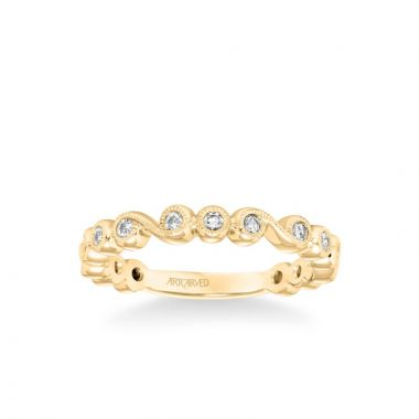 ArtCarved Stackable Band with Bezel Set Diamonds, Scroll Design and Milgrain Accents in 18k Yellow Gold