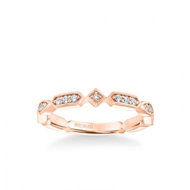 ArtCarved Stackable Band with Diamond and Milgrain Alternating Multi-Shape Design in 18k Rose Gold