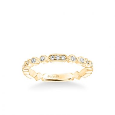 ArtCarved Stackable Band with Diamond and Milgrain Multi-Shape Alternating Design in 14k Yellow Gold