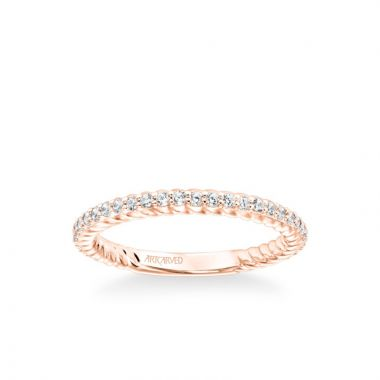 ArtCarved Stackable Band with Diamonds and Inside Rope Pattern in 18k Rose Gold