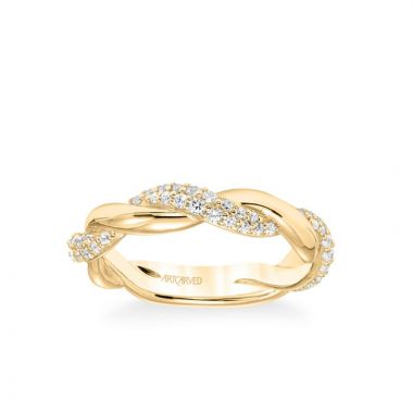 ArtCarved Stackable Band with Alternating Half Diamond Half Polished Twist in 18k Yellow Gold