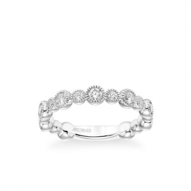 ArtCarved Stackable Band with Bezel Set Diamonds and Milgrain Accents in 14k White Gold