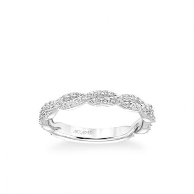 ArtCarved Stackable Band with Diamond Twist in 18k White Gold