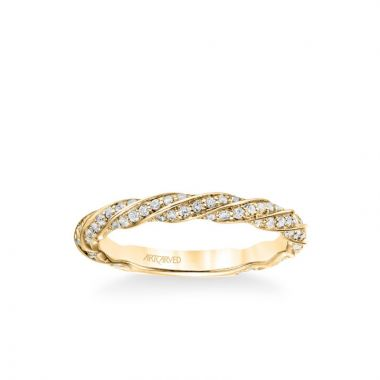 ArtCarved Stackable Band with Diamond Swirl Design in 14k Yellow Gold
