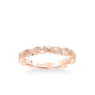 ArtCarved Stackable Band with Diamond and Milgrain Floral Design in 14k Rose Gold