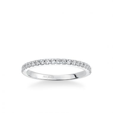 ArtCarved Stackable Band with Shared Prong Set Diamonds in 18k White Gold