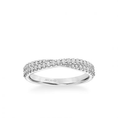 """ArtCarved Stackable Band with Diamond """"X"""" Design in 18k White Gold"""