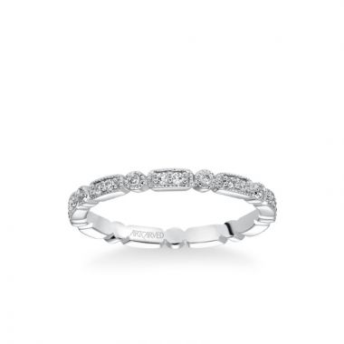 ArtCarved Stackable Eternity Band with Diamond and Milgrain Multi-Shape Details in 14k White Gold